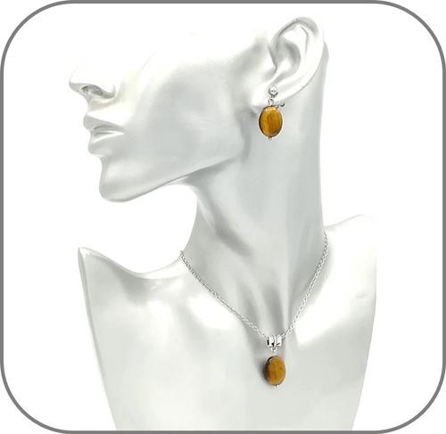 Boucles d'oreilles Acier Pierre Ovale Œil de tigre Quartz rose Labradorite Lapis lazuli Cornaline