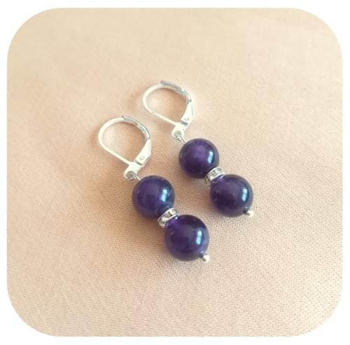 Boucles d'oreilles Acier avec 2 perles 8mm en pierre naturelle et strass - 12 pierres diverses