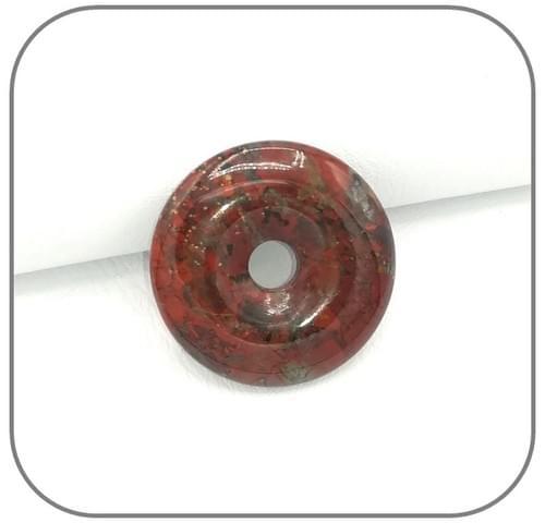 Pendentif Donut Jaspe Bréchique rouge tacheté gris - Modèle unique