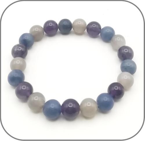 Bracelet Apaisement et clarté de Soi Agate grise, Aventurine bleue et Améthyste