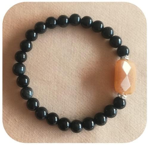 Bracelet Jade rectangle facettes et Obsidienne