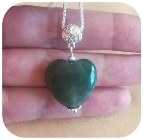 Pendentif argent 925 ou autres matériaux Cœur Agate vert - rose