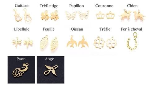 Breloque et Pierre au choix Pendentif acier doré et pierre naturelle 6mm