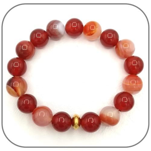 Bracelet Sardonyx et Agate rouge 10mm