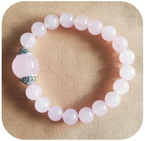 Bracelet Amour et Tendresse Pierre naturelle Quartz rose 8mm
