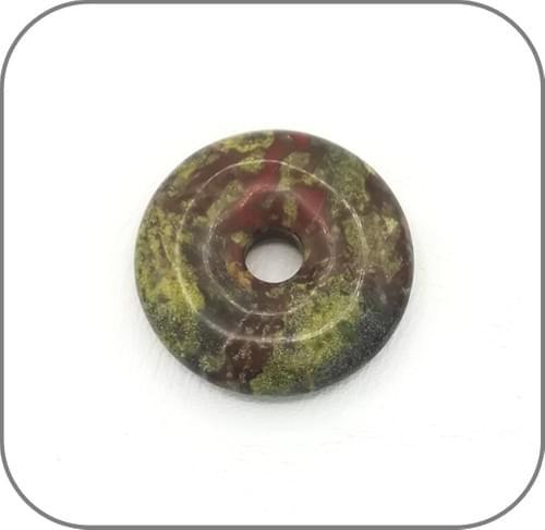 Pendentif Donut Jaspe Sang de Dragon (appelée aussi Héliotrope)