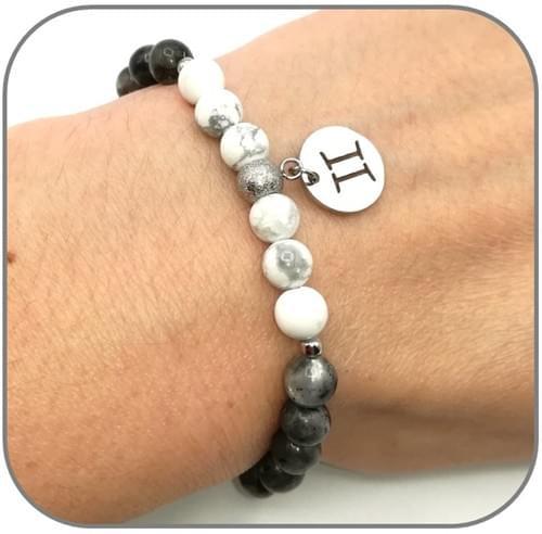 Bracelet Zodiaque Elément Air Verseau, Gémeaux, Balance en 6mm ou 8mm