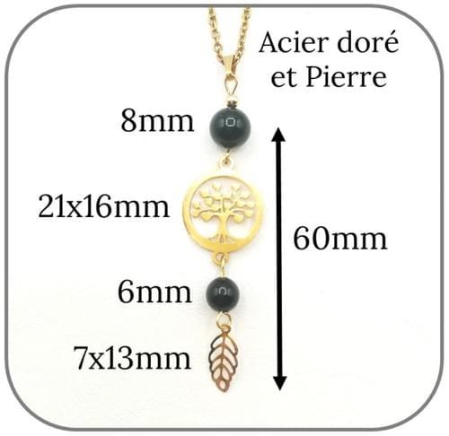 Pendentif Arbre de vie Acier doré pierre naturelle 6mm et 8mm -  Pierre au choix
