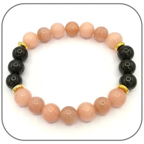Bracelet Soutien de vitalité Pierre de soleil, Opale rose et Shungite
