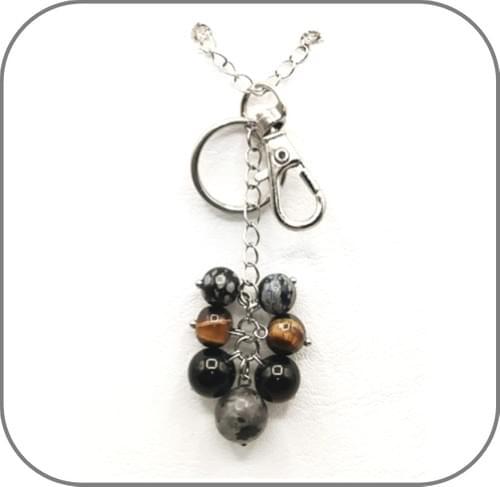 Porte Clés grappe Protection Labradorite, Oeil de tigre, Obsidienne noire et mouchetée