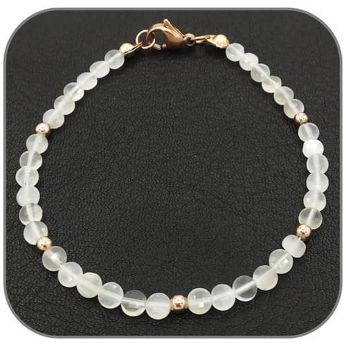 Bracelet Pierre de lune Pierre semi-précieuse Monture acier doré, argent ou or rose