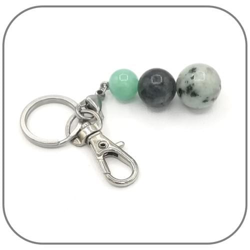 Porte clés Jaspe sésame 14mm, Labradorite 12mm, Jade Myanmar 10mm
