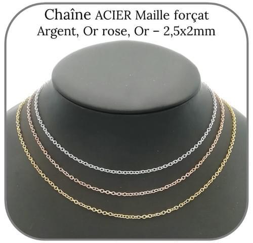Chaîne Acier argent, doré ou or rose Maille forçat 2.5x2mm