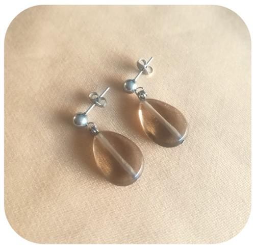 Boucles d'oreilles Acier ou Argent 925 avec pierre naturelle Quartz fumé goutte facettes