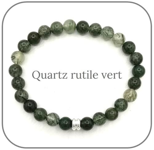 Bracelet Pierre Verte 6mm Au choix Quartz rutile vert, Jade africaine, Jaspe Kambaba, Agate mousse