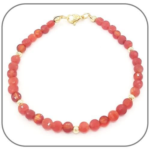 Bracelet Cornaline Pierre semi-précieuse Monture acier doré, argent ou or rose