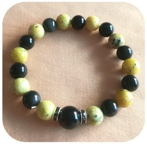 Bracelet Obsidienne et Serpentine