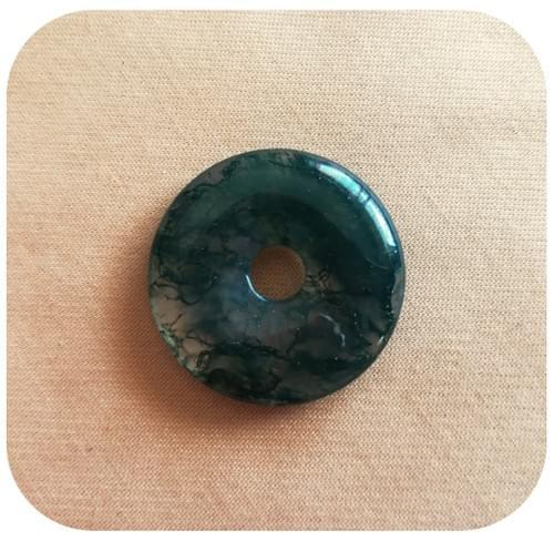 Pendentif Donut Agate Marbrée vert