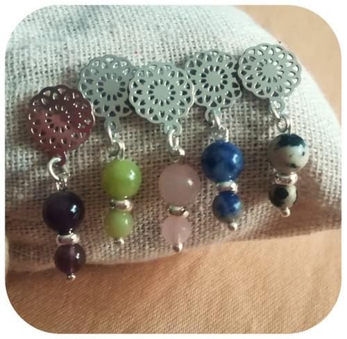 Boucles d'oreilles Fleur en filigrane en acier et pierres naturelles - 15 pierres au choix