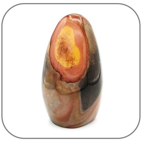 Pierre décorative unique  Jaspe Mokaite ou Mookaite - Œil brun rosé et jaune ocre