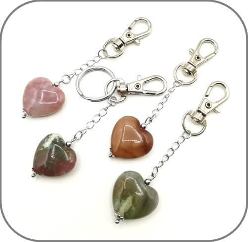 Porte clés Cœur pierre naturelle au choix Agate, Oeil de tigre, Quartz rose