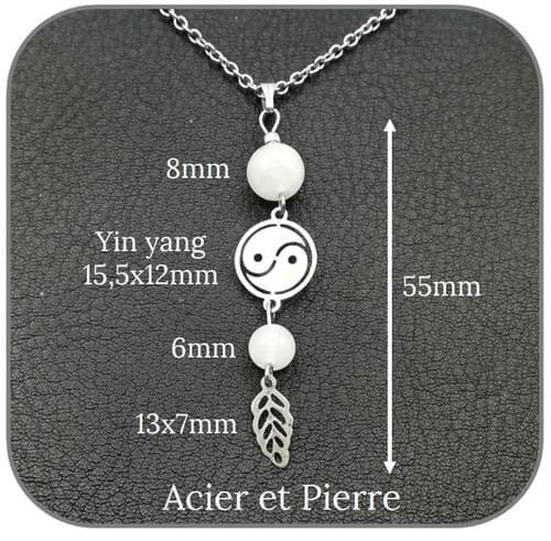Pendentif Yin yang Acier argent pierre naturelle 6mm et 8mm -  Pierre au choix