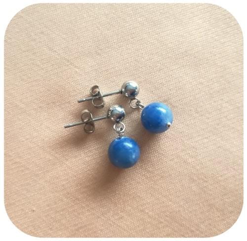 Boucles d'oreilles en Acier avec perle 8mm en pierre naturelle - 12 pierres diverses au choix