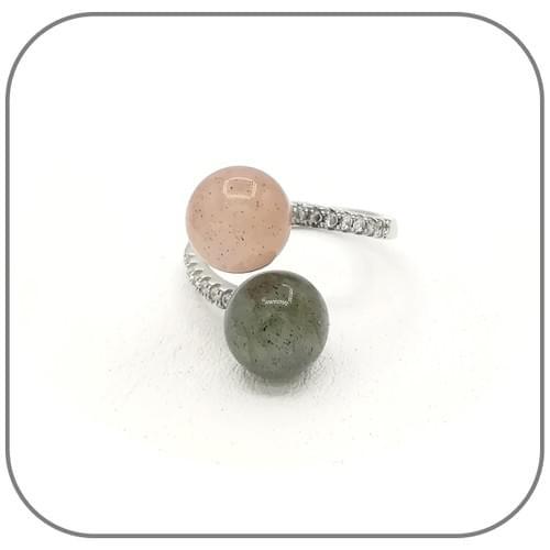 Bague Argent 925 Toi et Moi zircons et pierres 8mm au choix - Taille ajustable 48 à 54