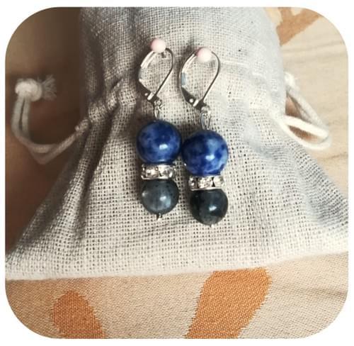 boucles d'oreilles Sodalite & Labradorite