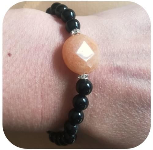 Bracelet Jade orangée (rond facettes) et Obsidienne (6mm)