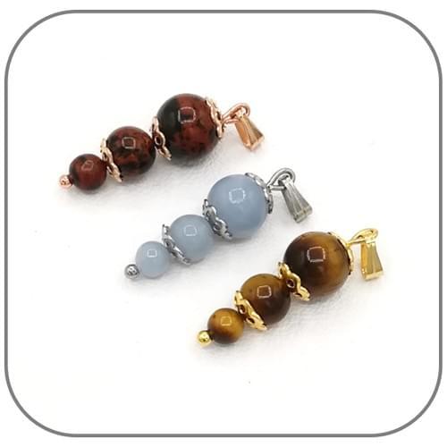 Pendentif Acier argent 3 perles croissantes 4, 6 et 8mm - Pierre au choix
