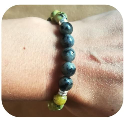 Bracelet Serpentine et Labradorite
