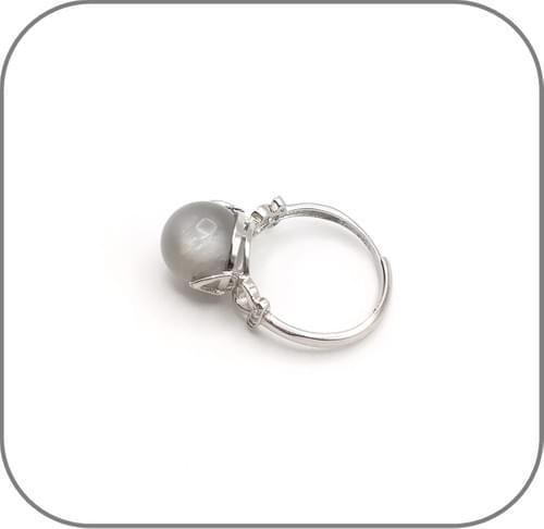 Bague Argent décor Cœur avec zircon et Pierre 10mm au choix