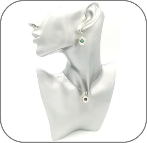 Boucles d'oreilles rondes avec perle en pierre naturelle au choix, motif anneaux entrelacés