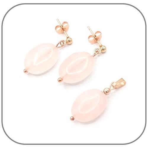 Bracelet Quartz rose ovale et rond, perle métal au choix argent, doré ou or rose