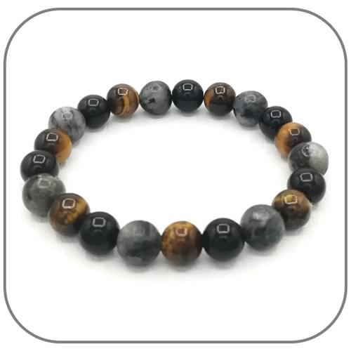 Bracelet Labradorite, Obsidienne, Œil de tigre
