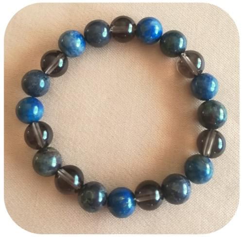 Bracelet Lapis lazuli, Quartz fumé et Jaspe sang de dragon (Héliotrope)