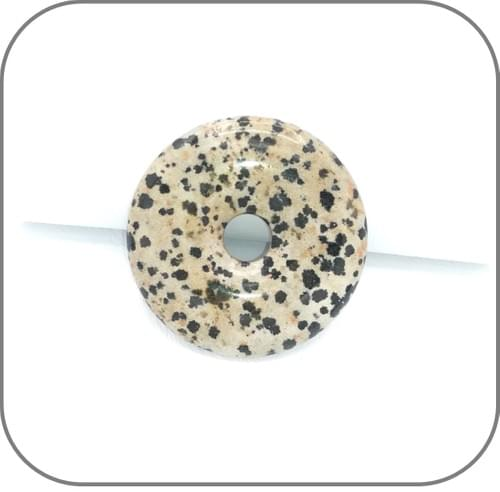 Pendentif Donut Jaspe Dalmatien - 2 teintes