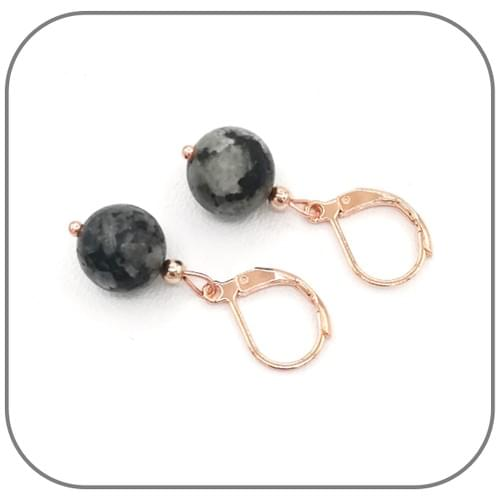 Boucles d'oreilles Acier or rose et Pierre naturelle 10mm au choix