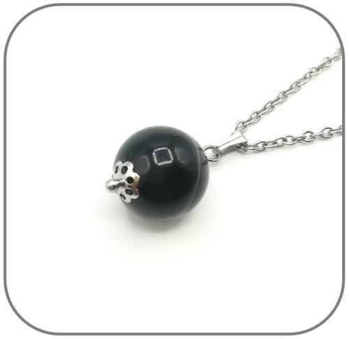 Pendentif Acier Onyx sphère 14mm