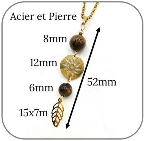 Boucles d'oreilles Soleil Acier doré pierre naturelle 6mm et 8mm -  Pierre au choix