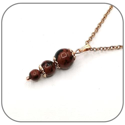Boucles d'oreilles Acier or rose 3 perles croissantes 4, 6 et 8mm - Pierre au choix