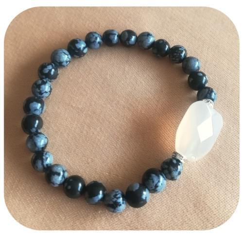 Bracelet Agate polygone et Obsidienne mouchetée