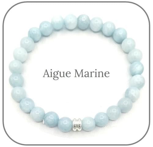 Bracelet Pierre naturelle Bleue 6mm Au choix : Aigue Marine, Lapis Lazuli etc...