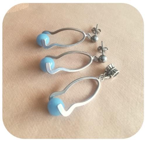 Boucles d'oreilles décor argenté et Angélite