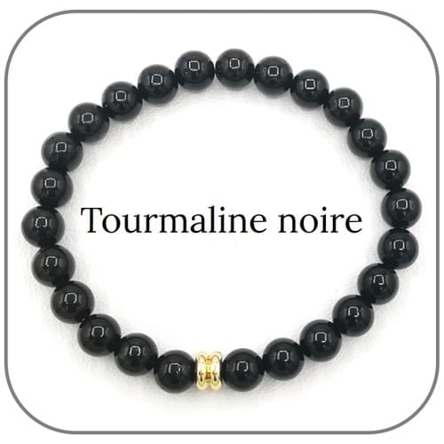 Bracelet Tourmaline noire 8mm, 6mm
