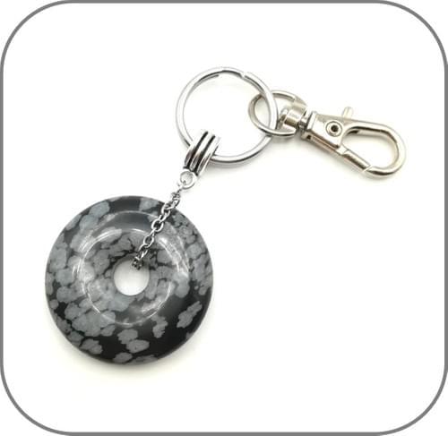 Porte clés Pendentif 2 en 1 Pierre naturelle Donut