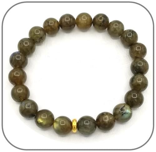 Bracelet Labradorite verte Pierre naturelle 8mm - Perle acier argent ou doré