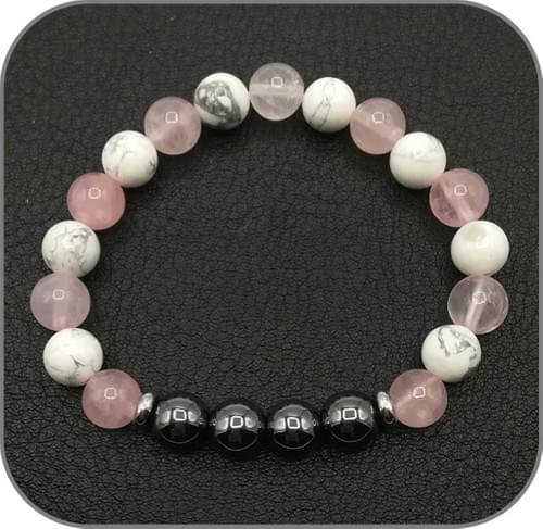 Bracelet Sommeil paisible Pierre naturelle Hématite, Quartz rose et Howlite
