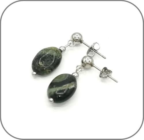 Parure Jaspe Kambaba pierre naturelle ovale - Acier argent, doré ou or rose